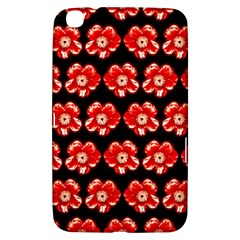 Red  Flower Pattern On Brown Samsung Galaxy Tab 3 (8 ) T3100 Hardshell Case