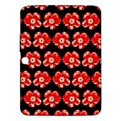Red  Flower Pattern On Brown Samsung Galaxy Tab 3 (10.1 ) P5200 Hardshell Case