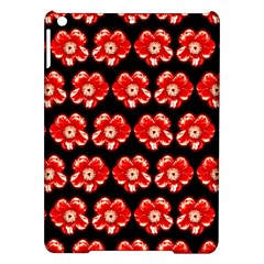 Red  Flower Pattern On Brown iPad Air Hardshell Cases