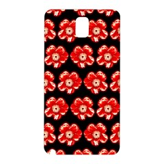 Red  Flower Pattern On Brown Samsung Galaxy Note 3 N9005 Hardshell Back Case