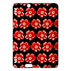 Red  Flower Pattern On Brown Kindle Fire HDX Hardshell Case