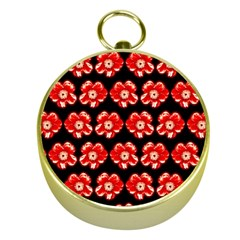 Red  Flower Pattern On Brown Gold Compasses