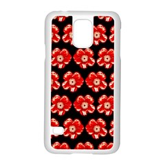 Red  Flower Pattern On Brown Samsung Galaxy S5 Case (White)