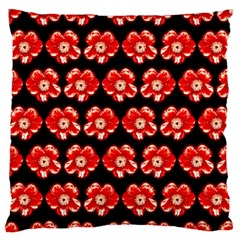 Red  Flower Pattern On Brown Large Flano Cushion Case (One Side)