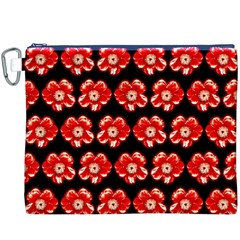 Red  Flower Pattern On Brown Canvas Cosmetic Bag (XXXL)
