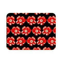 Red  Flower Pattern On Brown Double Sided Flano Blanket (Mini)