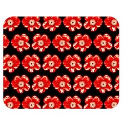 Red  Flower Pattern On Brown Double Sided Flano Blanket (Medium)