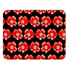 Red  Flower Pattern On Brown Double Sided Flano Blanket (Large)