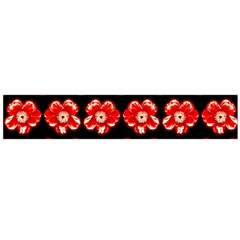Red  Flower Pattern On Brown Flano Scarf (Large)