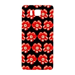 Red  Flower Pattern On Brown Samsung Galaxy Alpha Hardshell Back Case