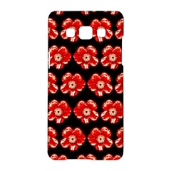 Red  Flower Pattern On Brown Samsung Galaxy A5 Hardshell Case