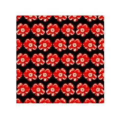 Red  Flower Pattern On Brown Small Satin Scarf (Square)
