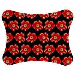 Red  Flower Pattern On Brown Jigsaw Puzzle Photo Stand (Bow)