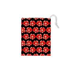 Red  Flower Pattern On Brown Drawstring Pouches (XS)