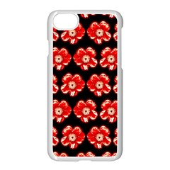 Red  Flower Pattern On Brown Apple iPhone 7 Seamless Case (White)
