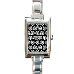 White Gray Flower Pattern On Black Rectangle Italian Charm Watch
