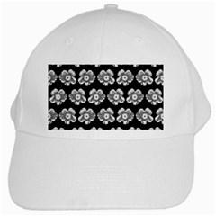 White Gray Flower Pattern On Black White Cap