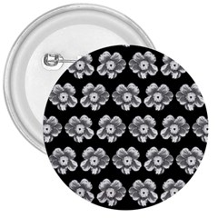 White Gray Flower Pattern On Black 3  Buttons