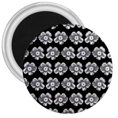 White Gray Flower Pattern On Black 3  Magnets