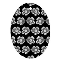 White Gray Flower Pattern On Black Ornament (Oval)
