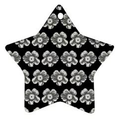 White Gray Flower Pattern On Black Ornament (Star)
