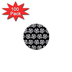 White Gray Flower Pattern On Black 1  Mini Buttons (100 pack)