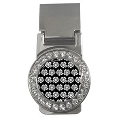 White Gray Flower Pattern On Black Money Clips (CZ)