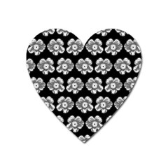 White Gray Flower Pattern On Black Heart Magnet