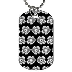 White Gray Flower Pattern On Black Dog Tag (One Side)