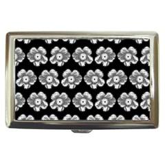 White Gray Flower Pattern On Black Cigarette Money Cases