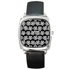 White Gray Flower Pattern On Black Square Metal Watch