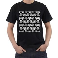 White Gray Flower Pattern On Black Men s T-Shirt (Black) (Two Sided)