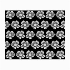 White Gray Flower Pattern On Black Small Glasses Cloth