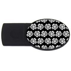 White Gray Flower Pattern On Black USB Flash Drive Oval (4 GB)