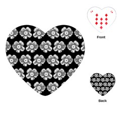 White Gray Flower Pattern On Black Playing Cards (Heart)