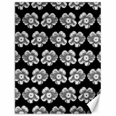 White Gray Flower Pattern On Black Canvas 18  x 24