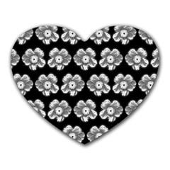 White Gray Flower Pattern On Black Heart Mousepads