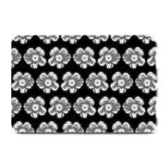 White Gray Flower Pattern On Black Plate Mats