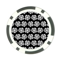 White Gray Flower Pattern On Black Poker Chip Card Guards (10 pack)