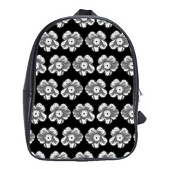 White Gray Flower Pattern On Black School Bags(Large)