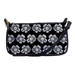 White Gray Flower Pattern On Black Shoulder Clutch Bags