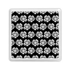 White Gray Flower Pattern On Black Memory Card Reader (Square)