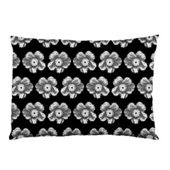 White Gray Flower Pattern On Black Pillow Case (Two Sides)