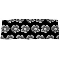 White Gray Flower Pattern On Black Body Pillow Case Dakimakura (Two Sides)