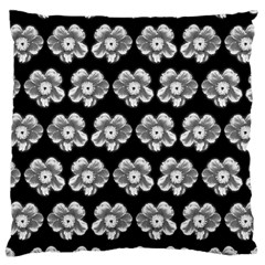 White Gray Flower Pattern On Black Large Cushion Case (One Side)