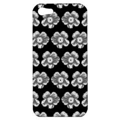 White Gray Flower Pattern On Black Apple iPhone 5 Hardshell Case