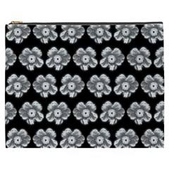 White Gray Flower Pattern On Black Cosmetic Bag (XXXL)