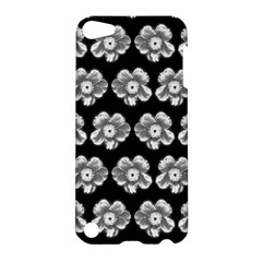 White Gray Flower Pattern On Black Apple iPod Touch 5 Hardshell Case