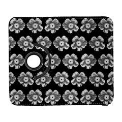 White Gray Flower Pattern On Black Galaxy S3 (Flip/Folio)