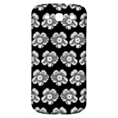 White Gray Flower Pattern On Black Samsung Galaxy S3 S III Classic Hardshell Back Case